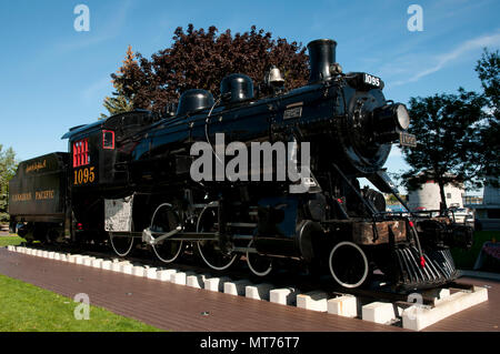 KINGSTON, CANADA - September 20, 2015: Engine 1095 in Kingston shows the city's industrial past & was built by the Canadian Locomotive Company - Stock Photo
