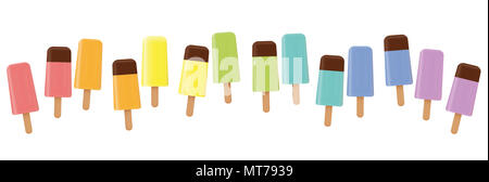 Ice lollys. Colorful line, loosely arranged, different flavor and colors, some with chocolate glaze. Rainbow colored. - Stock Photo