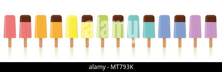 Ice lollys. Lined up with different colors. Rainbow colored collection of many frozen popsicles in a line, some with chocolate glaze. - Stock Photo