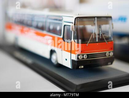 Soviet toy bus model on exhibition. - Stock Photo