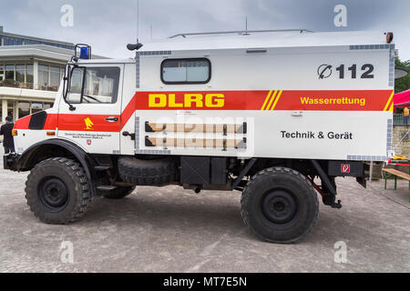 Unimog Mercedes converted into an ambulance of DLRG (Deutsche Lebensrettungsgesellschaft), on call at Maschsee in Hanover, Germany in May 2018 - Stock Photo