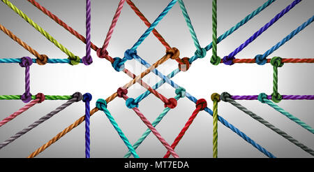 Arrow connection network as a social connected networking community joining together as a group of diverse ropes tied. - Stock Photo