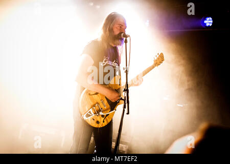 Norway, Oslo - April 14, 2018. The Norwegian psychedelic rock band Motorpsycho performs a live concert at Røverstaden in Oslo. Here vocalist and guitarist Hans Magnus Ryan is seen live on stage. (Photo credit: Gonzales Photo - Terje Dokken). - Stock Photo