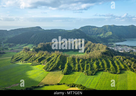 Aerial view of Caldeira Seca in Sete Cidades volcano complex, Sao Miguel island, Azores, Portugal - Stock Photo