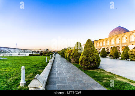 View on great Naqsh-e Jahan Square in Isfahan - Iran - Stock Photo