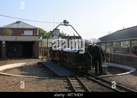 The steam locomotive Hercules on the turntable at New Romney station; Romney, Hythe & Dymchurch steam railway, Kent - Stock Photo