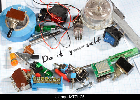 Do it yourself - old retro radio electronic parts vintage background - Stock Photo