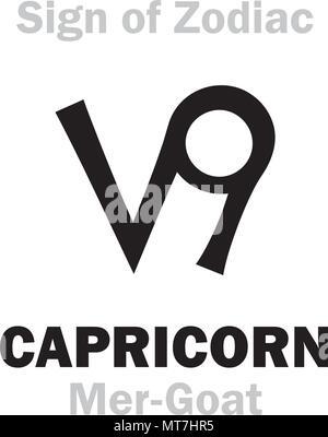 Astrology Alphabet Sign Of Zodiac Capricorn The Mer Goat Stock