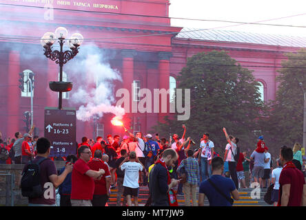 Football fans burn flares in front of Shevchenko University before the UEFA Champions League Final match Real Madrid vs Liverpool - Stock Photo