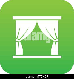 Curtain on stage icon digital green - Stock Photo