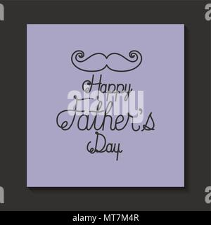 happy fathers day card with mustache - Stock Photo