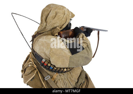 Stalker in gas mask with gun isolated on white - Stock Photo