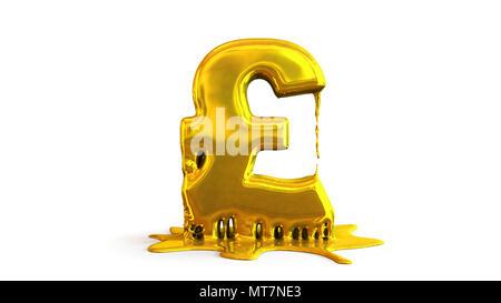 3D illustration of pound symbol melting - Stock Photo