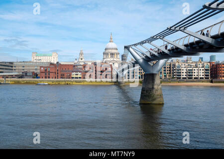 The view from Southbank across the River Thames to St Paul's Cathedral - Stock Photo