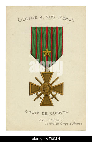 French historical postcard: Croix de Guerre (Cross of War).  Medal with a gold star (corps level), military decoration of France,  world war one 1914 - Stock Photo