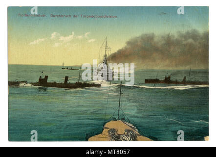German historical postcard:  The Navy maneuvers. A squadron of torpedo ships in the sea. world war one 1914-1918. Germany. Colored photo - Stock Photo