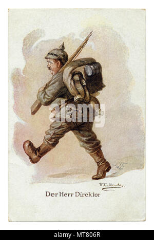 German historical postcard: Der Herr Direktor (The Director). A fat man in full combat lay-out walks and sweats from the weight of the burden. Humor. - Stock Photo