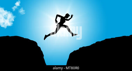 Fitness person jumps between rocks as concept image for courage and success - Stock Photo