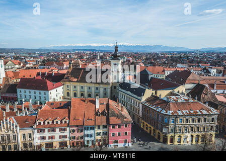 The Lutheran Cathedral of Saint Mary is the most famous Gothic-style church in Sibiu, Transylvania, Romania. Its massive 73.34 m high steeple is a lan - Stock Photo