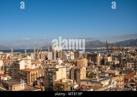Skyline of Palermo, Sicily, Italy looking towards the sea - Stock Photo