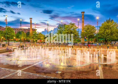 ATLANTA, GEORGIA - AUGUST 21, 2016: Visitors play in Centennial Olympic Park's landmark fountains. The Park was built for the 1996 Summer Olympics and - Stock Photo