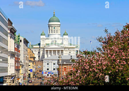 City life and Helsinki Cathedral seen from Etelaranta on a beautiful sunny day of summer. Helsinki, Finland - May 24, 2018. - Stock Photo