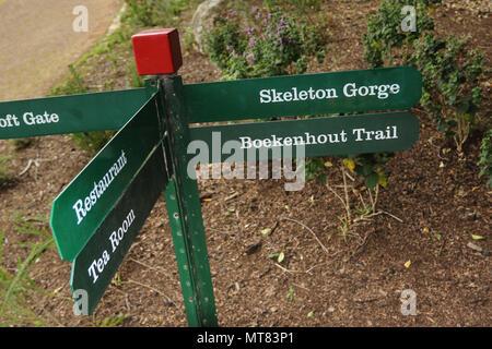 Trail signpost in Kirkenbosch botanic gardens, Capetown, South Africa - Stock Photo
