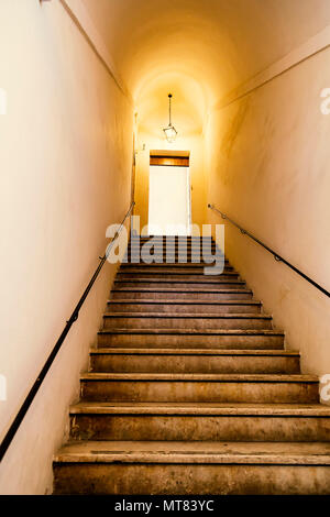 Old Staircase With Metal Wall Mounted Handrail, Ancient Architecture.  Selective Focus And Vintage Style