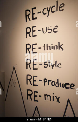 Graphic Illustration , reuse, recycle in Icelandic shop, Iceland - Stock Photo