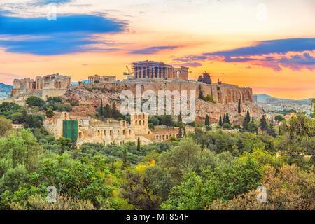 Parthenon, Acropolis of Athens, Greece at sunrise - Stock Photo