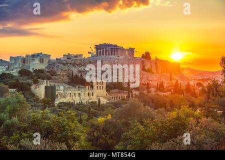 Sunrise over Parthenon, Acropolis of Athens, Greece - Stock Photo