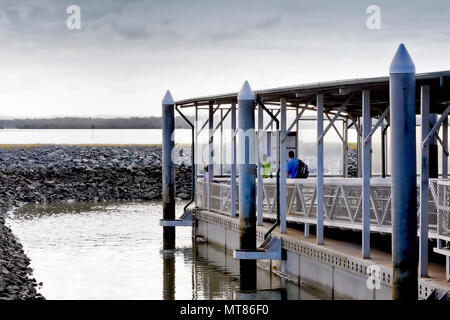 Main landing stage on the mainland for the ferries arriving and departing to Russell Island, Lamb Island, Karragarra Island and Coochimudlo Island - Stock Photo