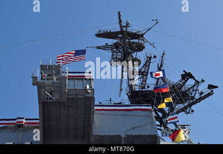 USS Midway Museum, aircraft Carrier, San Diego, California - Stock Photo