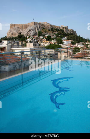 View of the Acropolis from the top of the Electra Palace Hotel in the Plaka neighborhood of Athens, Greece - Stock Photo