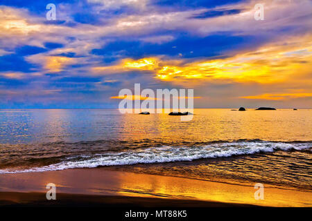 Colorful sunset over the sea - Stock Photo