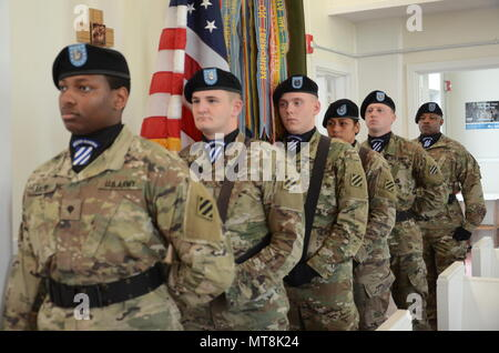3rd Infantry Division color guard team honored the fallen from the USS Allen M. Sumner, May 8, at the Hunter Army Airfield Chapel as part of the USS Sumner Association reunion/memorial ceremony. - Stock Photo