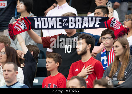 Chester, Pennsylvania, USA. 28th May, 2018. USA fans in action during the match between Bolivia and the USA at Talen Energy Stadium in Chester Pennsylvania Credit: Ricky Fitchett/ZUMA Wire/Alamy Live News - Stock Photo