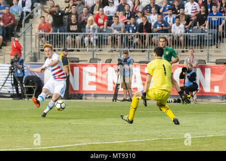 Chester, USA. 28th May 2018. Josh Sargent scores and celebrates his first international football / soccer goal for the United States Mens National Team / USMNT Credit: Don Mennig/Alamy Live News - Stock Photo