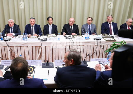 MOSCOW, RUSSIA - MAY 29, 2018: Andrei Yurasov, Deputy Head of the Russian Federal Archival Agency (Rosarkhiv), Oleg Dukhovnitsky, Oleg Dukhovnitsky, Head of the Russian Federal Communications Agency, Japan's Ambassador to Russia Toyohisa Kozuki, Mikhail Shvydkoi, Russia's Special Presidential Envoy for International Cultural Cooperation, Sergei Naryshkin, Chairman of the Russian Historical Society and Head of the Russian Foreign Intelligence Service, Head of Rosarkhiv Andrei Artizov, and Alexander Chubaryan (L-R back), Head of the World History Institute at the Russian Academy of Sciences, att - Stock Photo