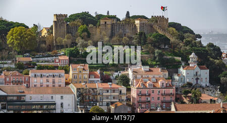 Castle of Saint George on top of Lisbon downtown - Stock Photo