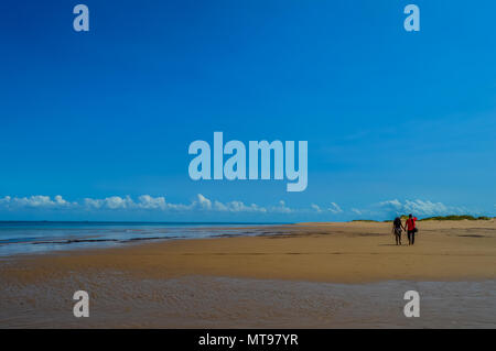 Beautiful and Pristine Portuguese Island beach with turquoise water , Mozambique. Isolated beach with blue green water - Stock Photo