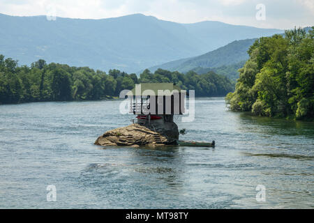 Lonely house on Drina river in Serbia - Stock Photo