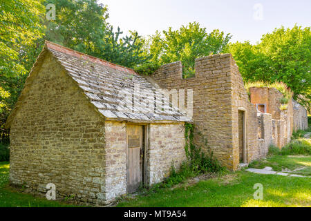 Abandoned houses/ buildings in the ghost village of Tyneham in South Dorset located in the midst of the Lulworth Military Firing Range, England, UK - Stock Photo