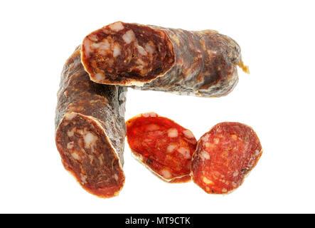 Delicious Italian cacciatore salami isolated in white - Stock Photo