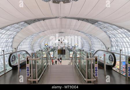 Bangkok, Thailand - May 18, 2018: Unidentified people at Suvarnabhumi International Airport gate E in Bangkok, Thailand. - Stock Photo