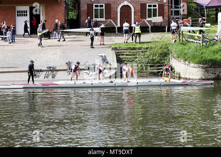 The Shrewsbury Regatta in May 2018. Various aspects of this annual event ranging from boat crews, boat houses and independent schools taking part . - Stock Photo