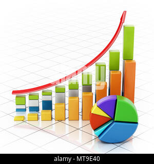 Rising sale bars and pie chart showing financial data. 3D illustration. - Stock Photo