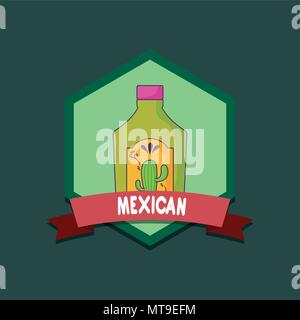 mexico emblem with tequila bottle over green background, colorful design. vector illustration - Stock Photo