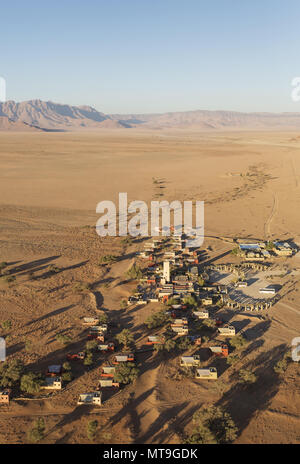 The Sossusvlei Lodge in Sesriem at the edge of the Namib Desert. Aerial view. Namib-Naukluft National Park, Namibia. - Stock Photo