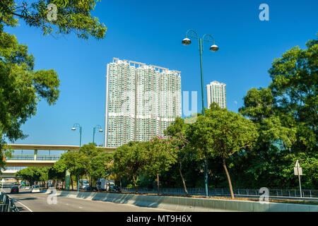 View of Tung Chung district of Hong Kong on Lantau Island - Stock Photo
